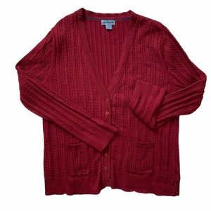 Jessica Women's Cable Knit Rust Cardigan, size 2X